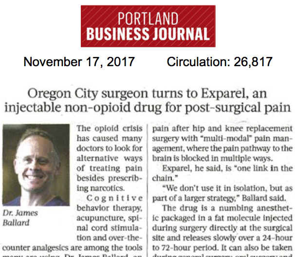 Oregon City Surgeon Turns to Exparel, an Injectable Non-opioid Drug for Post-surgical Pain